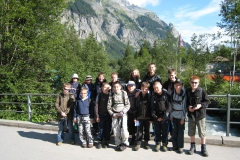 Ready for the alpine walk - the Troop gathered on the bridge over the Kander