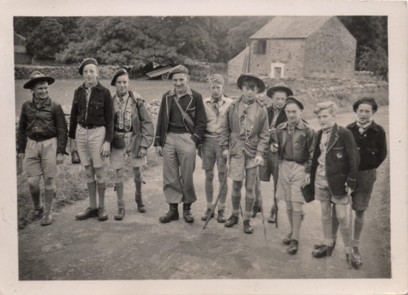 """Walk from Crosby to Haweswater with Teddy Relph - """"an epic walk to the Hawes Water dam and back, a distance of nearly 20 miles."""" Looks like a Morecambe Grammar School blazer on the right."""