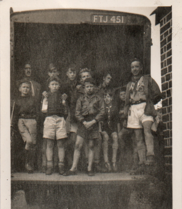 Setting out for annual camp at Crosby Ravensworth, 1952. Those were the days - hop in the back of a van, together with your gear, and off you went!